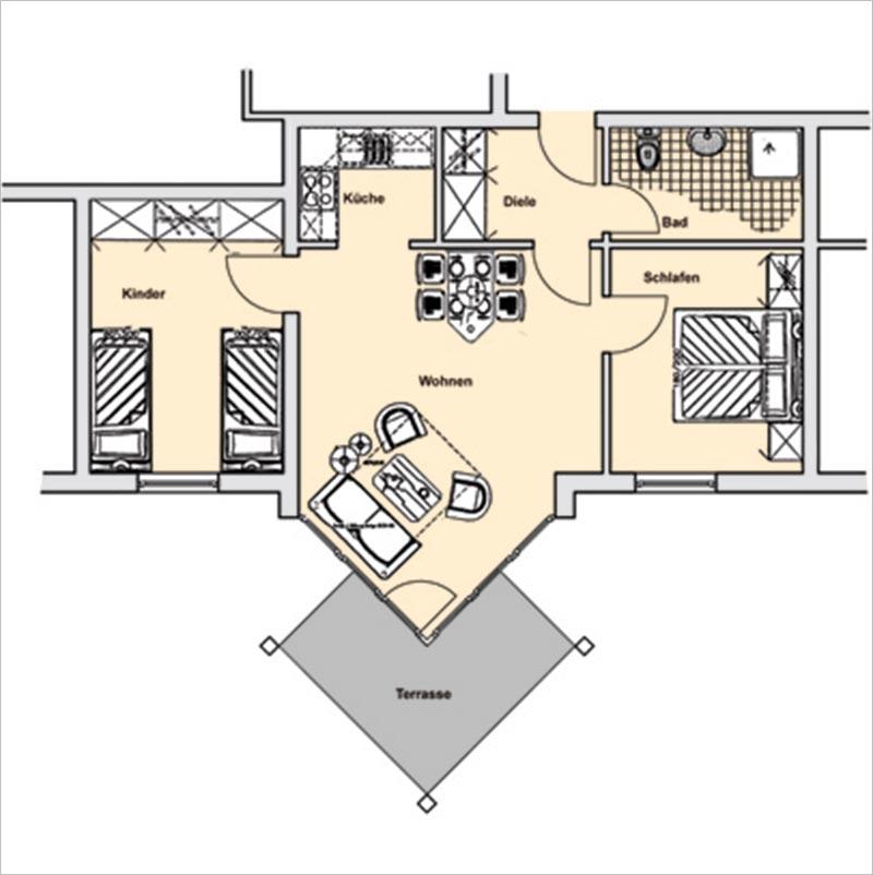 Grundriss Appartement 6 Haus Strelasund