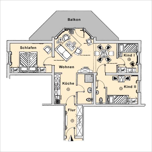 Grundriss Appartement 1 Haus Strelasund