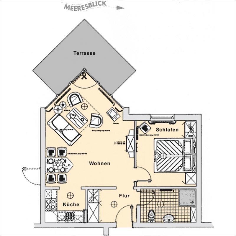 Grundriss Appartement 2 Haus Strelasund