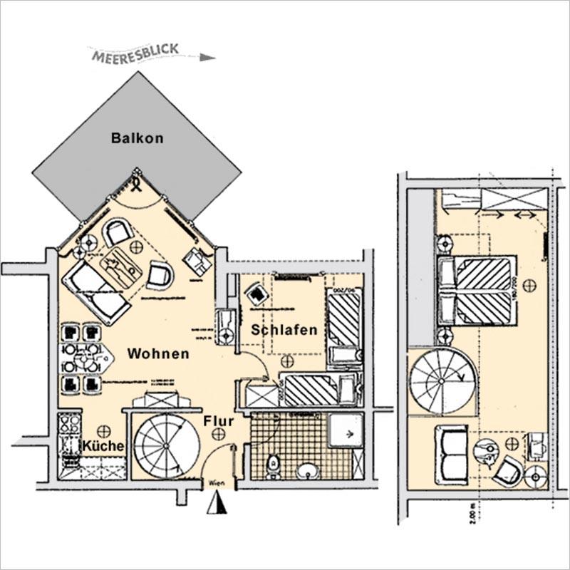 Grundriss Appartement 18 Haus Strelasund