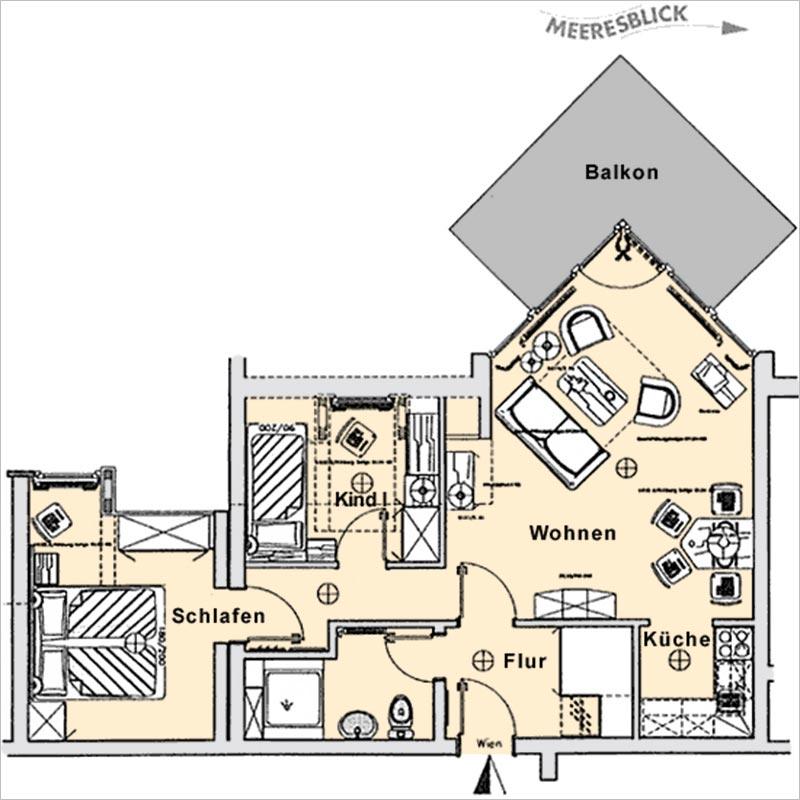 Grundriss Appartement 20 Haus Strelasund